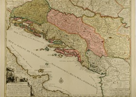 HR-DAZD-383 Kartografska zbirka, Zemljopisna karta Kraljevine Dalmacije i susjednih zemalja iz 1730. godine